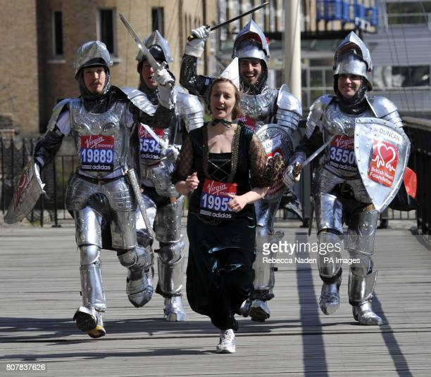 Virgin London Marathon 2010 hopefuls the Four Knights Hamish Cameron Duncan Cameron Angus Cameron and Dougal Cameron chase Amy Jevons as Lady...