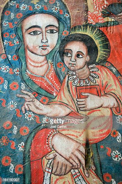 virgin mary and jesus - ethiopia - ethiopian orthodox church stock pictures, royalty-free photos & images