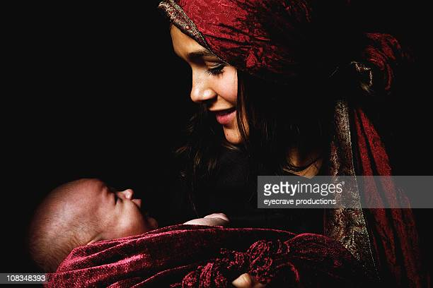 virgin mary baby jesus christ born christmas - smiling jesus stock pictures, royalty-free photos & images