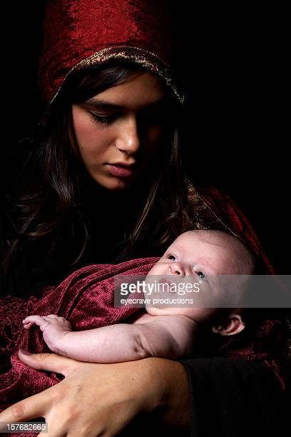virgin mary baby jesus christ born christmas - jesus birth stock photos and pictures