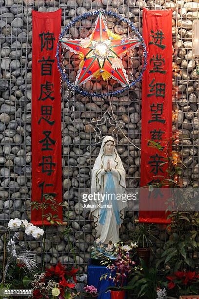 Virgin Mary statue in Notre Dame de Chine church