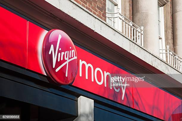 Virgin money bank sign, Hull, England.