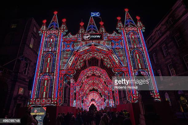 Virgin Money Street of Lights launches with a specially designed architectural installation of 26 arches of 60000 lights stretching along the Royal...