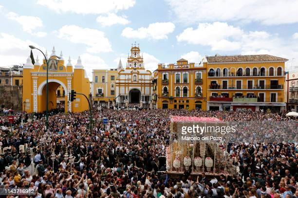 Virgin of La Macarena brotherhood is seen during a Holy Week procession on April 19, 2019 in Seville, Spain. 'Holy Week' or 'Semana Santa' attracts...