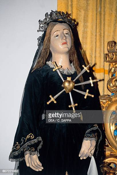 Virgin of the Rosary wooden statue Paciano Umbria Italy 17th century