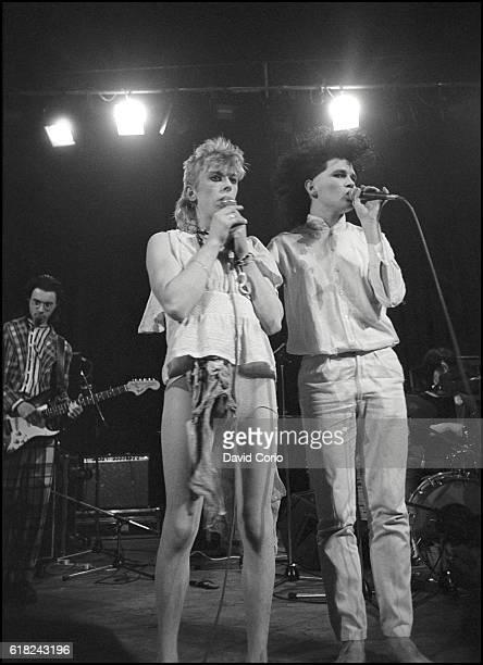Virgin Prunes Dik Evans Guggi and Gavin Friday performing at ICA London UK 1979