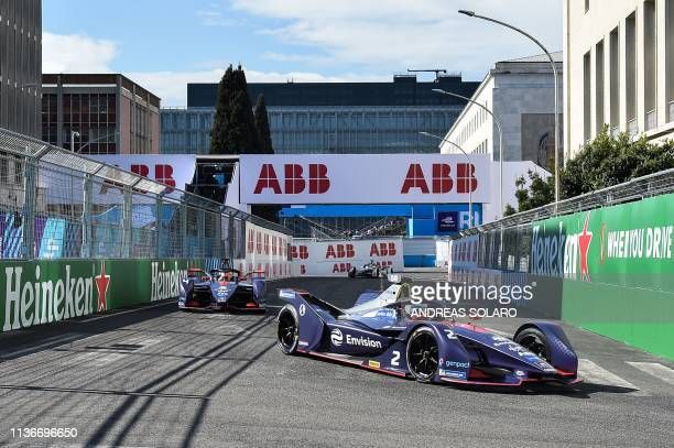 Virgin Racing's British driver Sam Bird steers his car during qualifications ahead of the Rome EPrix leg of the Formula E season 20182019 electric...