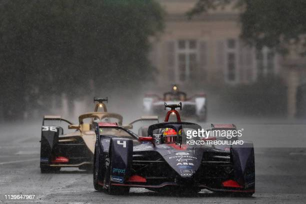 Virgin Racing's Dutch driver Robin Frijns steers his car during the Formula E electric car ePrix de Paris around The Invalides Monument in Paris on...