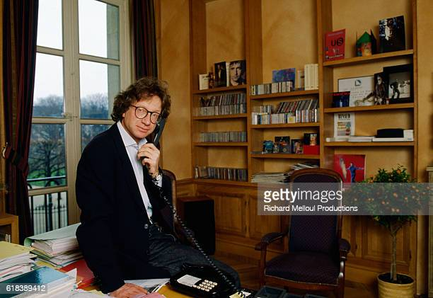 Virgin Records President and Chairman Patrick Zelnik makes a phone call in his Paris office.
