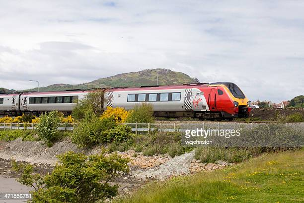 Virgin Train travelling through the welsh countryside