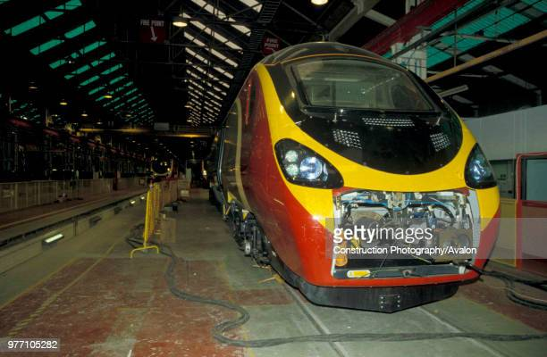 A Virgin Trains Pendolino is seen here inside Alstom's Train Assembley depot at Washwood Heath Birmingham UK 2002