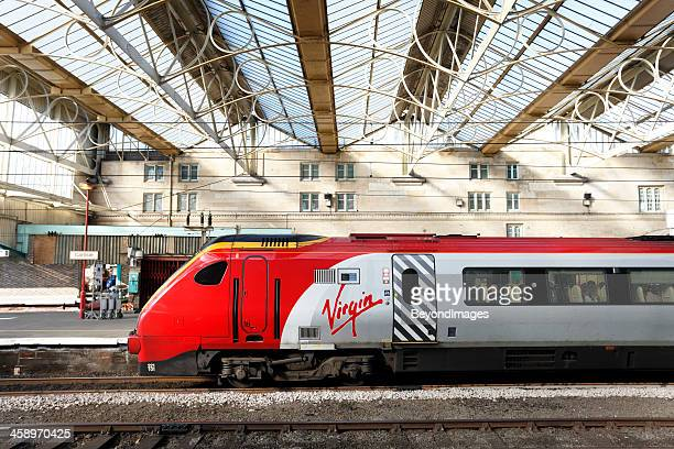 Virgin Trains Super Voyager in covered railway station