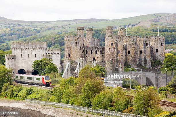 Virgin Voyager train passes Conwy Castle