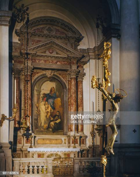 Virgin with St Catherine of Siena St Rose of Lima holding the Christ child and St Agnes of Montepulciano by Giambattista Tiepolo first altar on right...