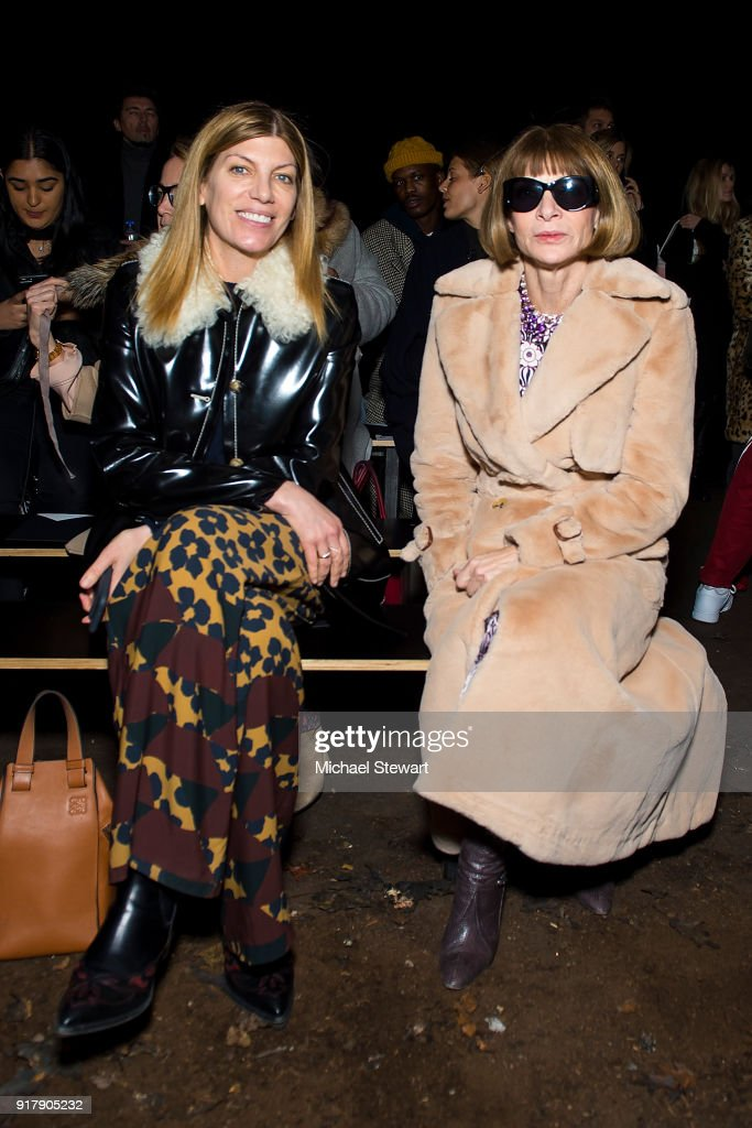 Virgina Smith (L) and Anna Wintour attend the Coach 1941 fashion show during New York Fashion Week on February 13, 2018 in New York City.