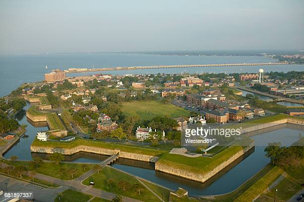 usa, virginia, aerial photograph of fort monroe in hampton - chesapeake bay stock pictures, royalty-free photos & images