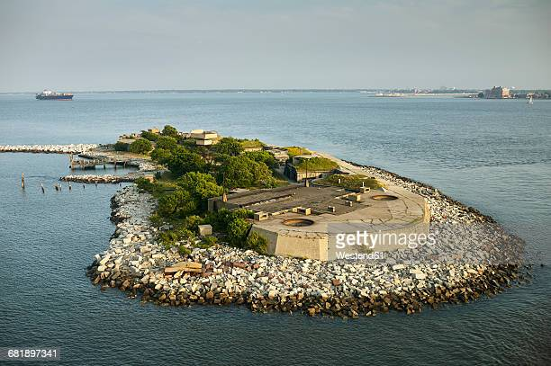 usa, virginia, aerial photograph of fort wool on rip rap island in the chesapeake bay - chesapeake bay stock pictures, royalty-free photos & images