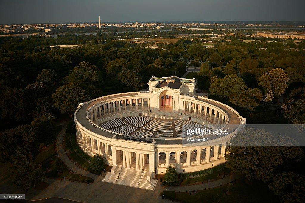 USA, Virginia, Aerial photograph of the Arlington National Cemetery Theater : Stock Photo