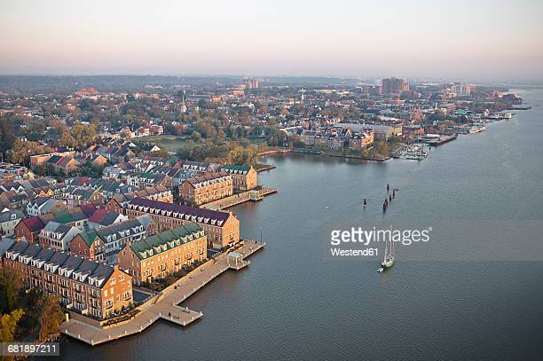 USA, Virginia, Alexandria, Aerial photograph at sunrise of Fords Landing