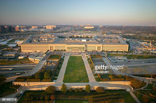USA, Virginia, Arlington, Aerial photograph of the eastern entrance of the Pentagon