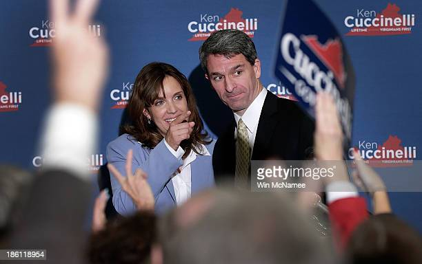 Virginia Attorney General Ken Cuccinelli the Republican candidate for Governor of Virginia and his wife Teiro thank supporters after speaking at a...