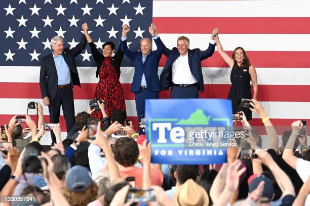 Virginia attorney general Mark Herring, Democratic nominee for Virginia lieutenant governor Hala Ayala, US President Joe Biden, Democratic...