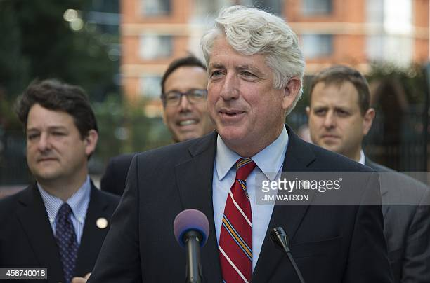 Virginia Attorney General Mark R Herring speaks during a news conference in front of the Arlington County courthouse to announce that couples can...