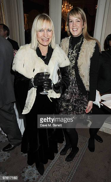 Virginia Bates and guest attend the Nancy Mitford 'Wigs on the Green' reissue party held by Catherine Ostler and the Dowager Duchess of Devonshire,...