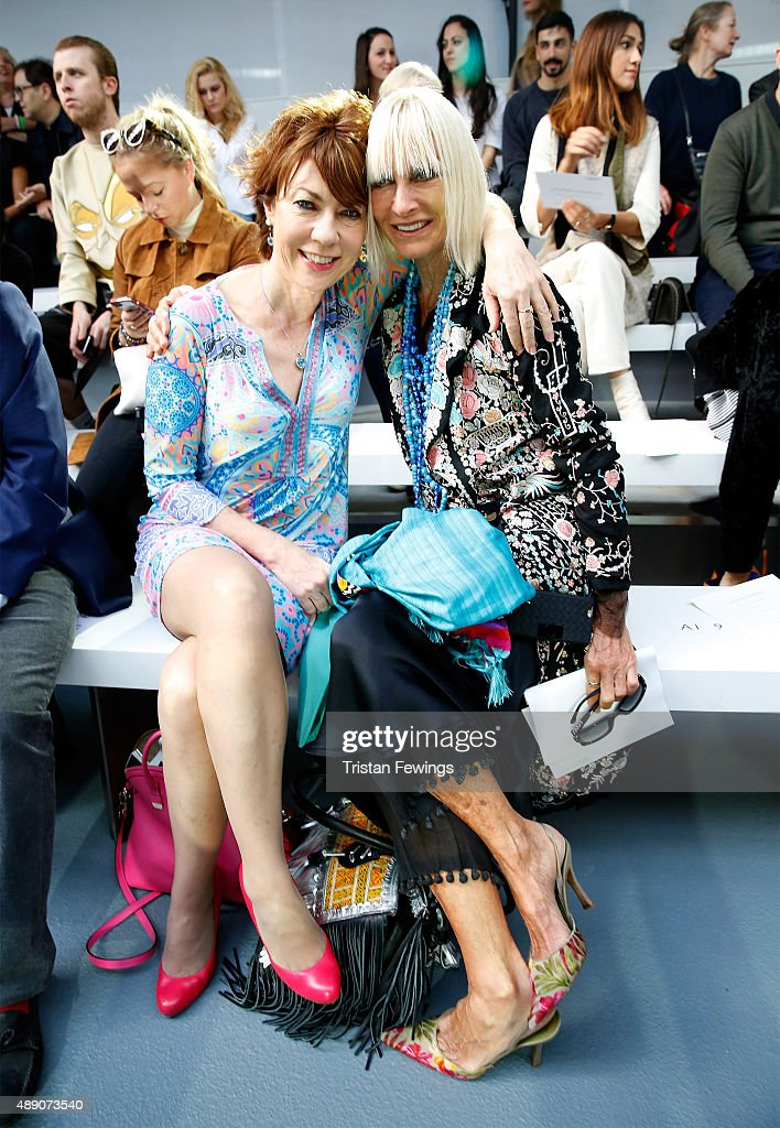 Virginia Bates (R) attends the Jasper Conran show during London Fashion Week SS16 on September 19, 2015 in London, England.