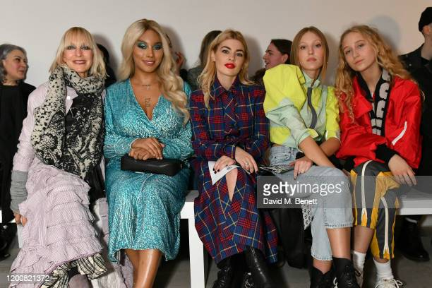 Virginia Bates, Munroe Bergdorf, Sydney Lima, Ella Richards and Elfie Reigate attend the Matty Bovan show during London Fashion Week February 2020 at...