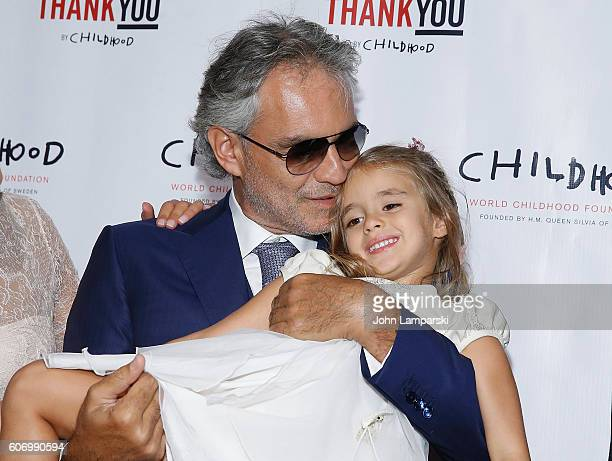 Virginia Bocelli and Artist Andrea Bocelli attend World Childhood Foundation USA Thank You Gala 2016 at Cipriani 42nd Street on September 16 2016 in...