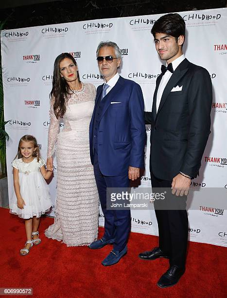 Virginia Bocelli Veronica Berti and Artist Andrea Bocelli and Amos Bocelli attend World Childhood Foundation USA Thank You Gala 2016 at Cipriani 42nd...