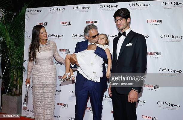Virginia Bocelli, Veronica Berti and Artist Andrea Bocelli and Amos Bocelli attend World Childhood Foundation USA Thank You Gala 2016 at Cipriani...