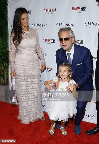 Virginia Bocelli Veronica Berti and Artist Andrea Bocelli attend World Childhood Foundation USA Thank You Gala 2016 at Cipriani 42nd Street on...