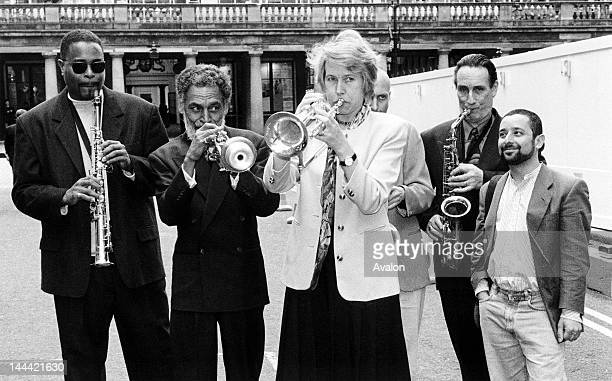 Virginia Bottomley MP Secretary of State for National Heritage at the press launch for International Jazz Day outside the Theatre Museum London on 30...