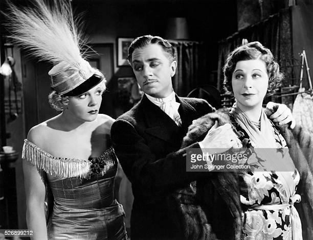 Virginia Bruce as Audrey Dane William Powell as Florenz Ziegfeld Jr and Fanny Brice as herself in the 1936 film The Greate Ziegfeld