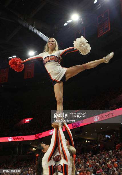 Virginia Cavaliers cheerleaders performing during a game between the Louisville Cardinals and the Virginia Cavaliers on March 07 at John Paul Jones...