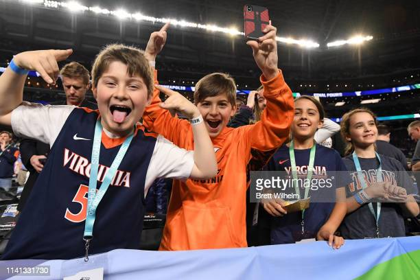 Virginia Cavaliers fans cheer before the game / during the 2019 NCAA men's Final Four National Championship game at US Bank Stadium on April 08 2019...