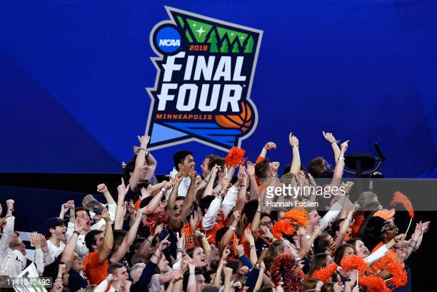 Virginia Cavaliers fans cheer on their team against the Texas Tech Red Raiders in the second half during the 2019 NCAA men's Final Four National...