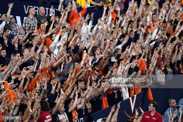 Virginia Cavaliers fans cheer on their team against the Texas Tech Red Raiders during the 2019 NCAA men's Final Four National Championship game at US...