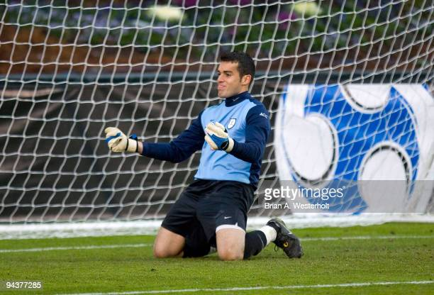 Virginia Cavaliers goalie Diego Restrepo reacts after making a save against the Akron Zips in the final of the 2009 Men's College Cup at WakeMed...