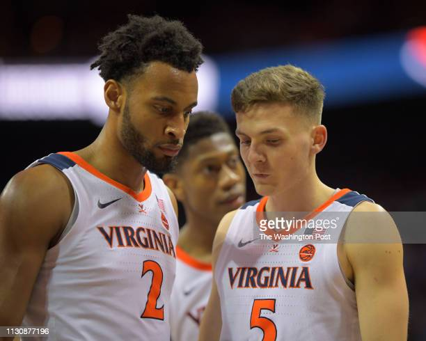 Virginia Cavaliers guard Braxton Key left Virginia Cavaliers guard De'Andre Hunter center and Virginia Cavaliers guard Kyle Guy are shown in a time...