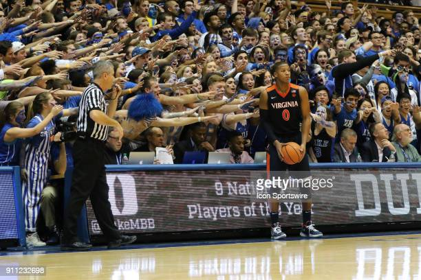 Virginia Cavaliers guard Devon Hall during the 2nd half of the Duke Blue Devils game versus the Virginia Cavaliers on January 27 at Cameron Indoor...