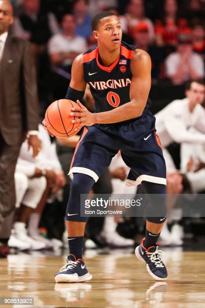 Virginia Cavaliers guard Devon Hall looks for the outlet pass during the ACC matchup on January 21 2018 between Virginia and Wake Forest at Lawrence...