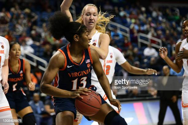 Virginia Cavaliers guard Jocelyn Willoughby makes a move on the post during the ACC Women's Tournament game between the Syracuse Orange and the...