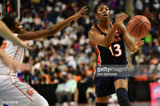 Virginia Cavaliers guard Jocelyn Willoughby passes the ball during the ACC Women's basketball tournament between the Syracuse Orange and the Virginia...