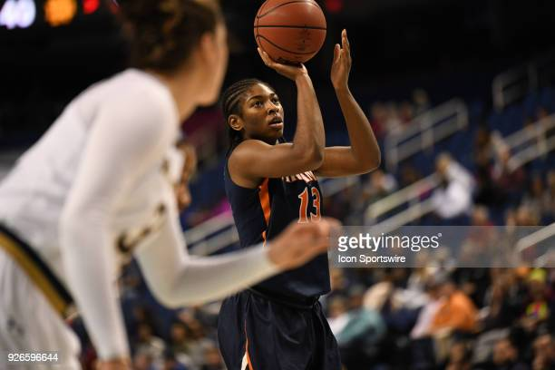 Virginia Cavaliers guard Jocelyn Willoughby shoots a free throw during the ACC women's tournament game between the Virginia Cavaliers and the Notre...