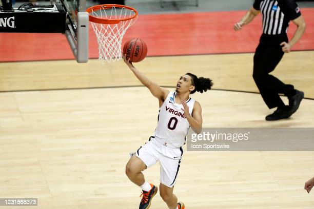 Virginia Cavaliers guard Kihei Clark takes a shot against the Ohio Bobcats on March 20 during the NCAA Division I Men's Basketball Tournament at...