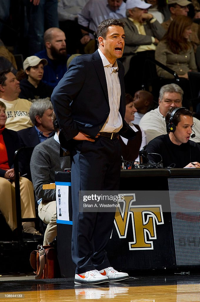 Virginia Cavaliers head coach Tony Bennett yells instructions to his team during first half action against the Wake Forest Demon Deacons at the Lawrence Joel Coliseum on January 29, 2011 in Winston Salem, North Carolina. The Demon Deacons defeated the Cavaliers 76-71.