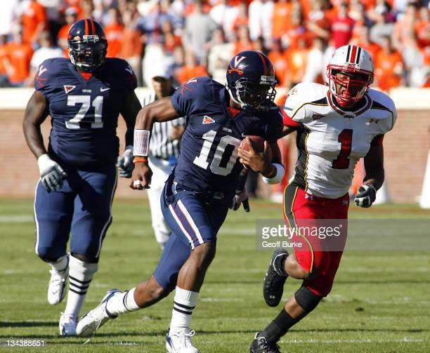Virginia Cavaliers quarterback Jameel Sewell is chased out of the pocket versus Maryland at Scott Stadium, Charlottesville, Vriginia, October 14,...